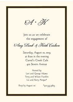 Black Border Invitation designed by Sweet Pea Designs Engagement Party Invitations, Invitation Design, Rsvp, Engagement Invitations