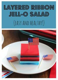 Layered Ribbon Jell-O Salad Recipe {www.TwoHealthyKitchens.com}