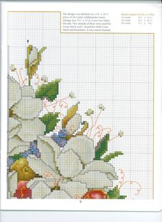 Cross stitch - flowers: Magnolia and fruit bouquet in a vase (chart - part A2)