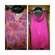 2 for 1 NWT THE AVENUE TUNIC AND TANK TOP The multicolored tunic is a see-through material perfect over camisole. The pink tank top has a sequin neckline and both are brand new Avenue Tops
