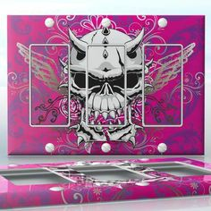 DIY Do It Yourself Home Decor - Easy to apply wall plate wraps | Pink Hell  White demon skull on pink background  wallplate skin sticker for 3 Gang Decora LightSwitch | On SALE now only $5.95