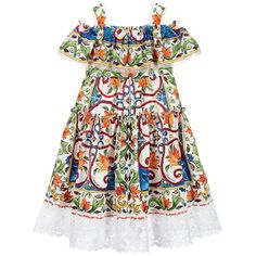 In an off the shoulder style evoking warm Sicilian days, this ruffled Majolica print dress by Dolce & Gabbana is a beautiful choice for your Mini-me. Made in soft cotton poplin with macrame lace trim, it has a lined bodice and fastens with a zip on the back.