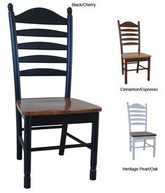 Dine in comfort while adding style to your home with a pair of beautiful solid wood chairsTall ladderback chairs feature box seat constructionSold as a set of two (2) dining chairs