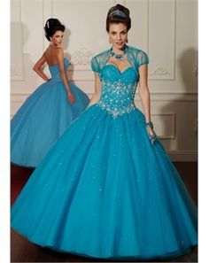 Elegant royal blue ball gown.