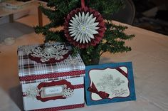 Christmas assortment, ornament, card and card box for keeping cards in.