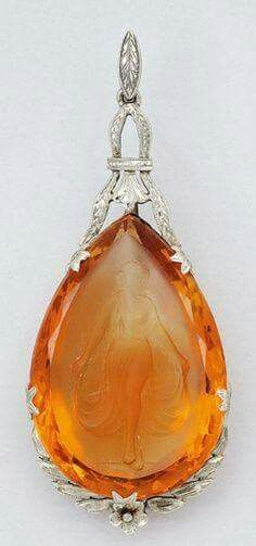 Citrine Cameo and 14K White Gold Pendant,  Ca. 1930  height 2 1/8 ins, 7/8 in,  maker's mark