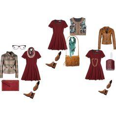"""Bota Chelsea e vestido burgundy em 3 looks distintos"" by clothes-cm on Polyvore"