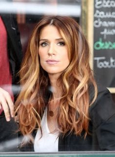 Fall hair color look, perfect auburn red with touch of blonde. Perfect for my safe zone