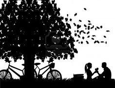 La silueta de un romántico pic-nic...