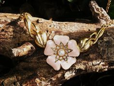 Trifari Peach Enamel Blossom Gold Toned by GoldiesNaturalGems