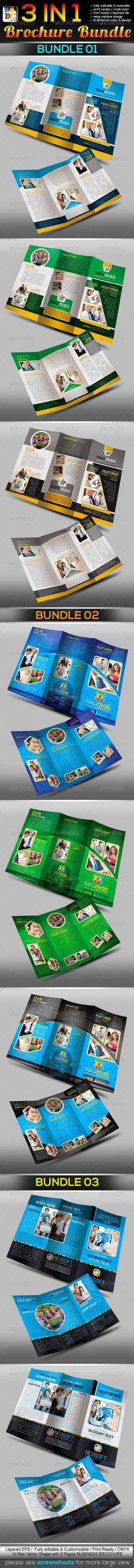 3 in 1: Corporate Tri-fold Business Brochure Bundl  #GraphicRiver            3 in 1: Corporate Tri-fold Business Brochure Bundle 210×297mm print dimension with Bleed + Trim Mark, Well Layered Organised (EPS), 300DPI, CMYK , Print ready, 8 different Color With Design & Fully Editable, Text/fonts/colors editable, Very Easy to Customise & replace the model image.  Features  > This template is ideal for any business presentation.  > The style is unique, both dynamic and readable.  > Sample…