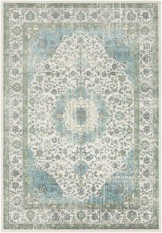 Living room: Gorgeous Surya rug in shades of teal and gray- perfect for tying color into a traditional space! Teal And Grey, Blue Green, Green Colors, Navy Blue, Polypropylene Rugs, Traditional Area Rugs, Modern Carpet, Carpet Colors, Reno