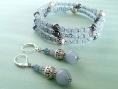 Blue Chalcedony & Hematite Bracelet Earrings Set Hand Crafted By Isis Creations ~ Unique Gift Idea Wiccan Pagan, Spiritual Artisan Jewelry by IsisCreationz on Etsy