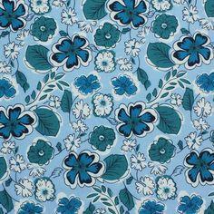 Cotton Poplin Printed : Cotton Prints - Flowers With Leaf Light Blue
