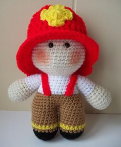 Crochet Firefighter Doll Fireman Big Head by KarensCrochetCottage