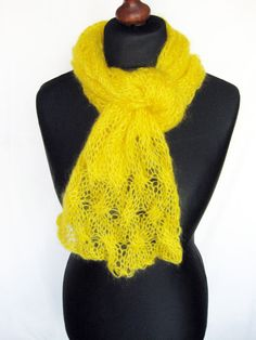 Cable knit scarf bright yellow silk mohair shawl by Renavere