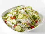 Spicy Asian Noodles Recipe. Great for summer & a way to use up all of the cucumbers & tomatoes we're growing.