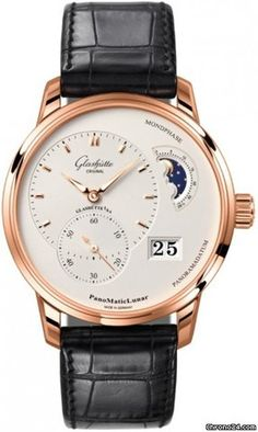 Glashütte Original PanoMaticLunar $20,656 #Glashuette #watch #watches #style #luxury #chronograph red gold case with crocodile skin bracelet and automatic movement