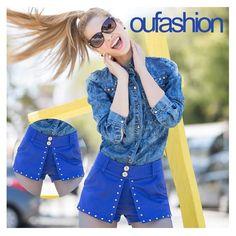 Short-saia num pegada rocker fashion, padronagem resinada, stades e recortes musos!  #oufashion #shortsaia #resinado #azulklein