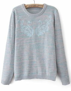 Grey Long Sleeve Embroidered Loose Sweater N.Kr.248.09