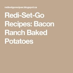 Redi-Set-Go Recipes: Bacon Ranch Baked Potatoes Sandwich Maker Recipes, Indoor Grill, Baked Potatoes, Cooker, Ranch, Bacon, Grilling, Sandwiches, Kitchen Appliances