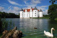 Wasserschloss in Glücksburg. Küstentour von Flensburg nach Kappeln. Link zur Tour: http://www.outdooractive.com/de/radfahren/ostseekueste-schleswig-holstein/kuestentour-von-flensburg-nach-kappeln/2806526/#axzz29LvgYGET  Bild: Tourist-Information Glücksburg. Keywords: Schloss, Schwan, Deutschland, castle, swan, germany