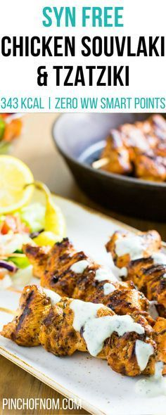 Syn Free Chicken Souvlaki and Tzatziki Pinch Of Nom Slimming World Recipes 343 kcal Syn Free 3 Weight Watchers Smart Points Slimming World Fakeaway, Slimming World Dinners, Slimming World Chicken Recipes, Slimming World Diet, Slimming Eats, Slimming Recipes, Ww Recipes, Slow Cooker Recipes, Cooking Recipes