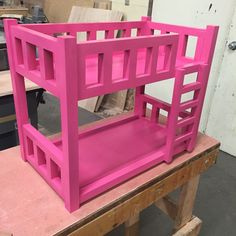 "20"" doll bunk bed painted pink. Stile and rails measure 1"" square. Mahogany construction. Works with American Girl, Springfield, and others. Thanks to Ana-White for the plan dimensions."