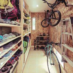 Bike Storage, Garage Storage, Home Interior Design, Interior Architecture, Camping Room, Tool Room, Walk In Closet, Outdoor Gear, House Plans