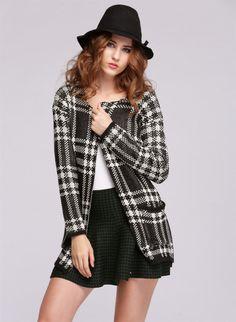 Womens Geometric Long Sleeve Knitted Cardigan Sweater Tops at Racks on Racks