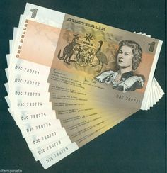 Australia $1 1982 TEN 10 Consecutive notes Johnston-Stone PERFECT CONDITION UNC