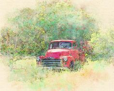 Digital Watercolor from my photo of and old red truck. #watercolor jd