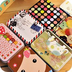 미니 귀여운 가와이이 만화 주석 금속 상자 케이스 홈 저장 주최자 보석 아이 장난감 선물 가정 용품 무료 배송 205