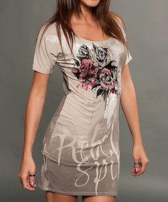 Look at this #zulilyfind! Cement Roses Scoop Neck Dress by Rebel Spirit #zulilyfinds