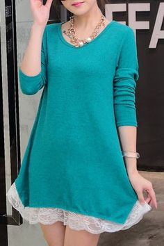 Stylish Scoop Neck Long Sleeve Women's Laciness Dress