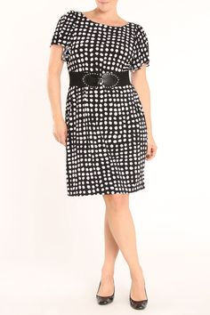 Nice waistline and skirt line, not scrawny, WHY DOTS?