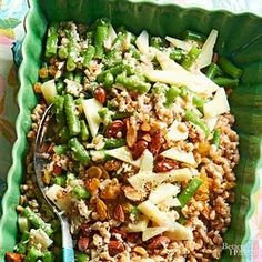 Highlight fresh summer green beans in this whole grain farro salad. The creamy shallot and Manchego cheese dressing would be delicious on any vegetable salad.