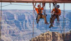 Real Cliffhanger: Workers Clean Grand Canyon Skywalk (Photo: George Walsh / Abseilon USA, AZ Photos via AP)