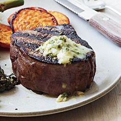 Pan-Seared Steak with Chive-Horseradish Butter | MyRecipes.com