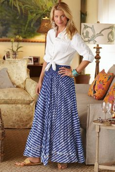 Ashbury Skirt - Blue And White Striped Skirt, Skirts, Clothing | Soft Surroundings