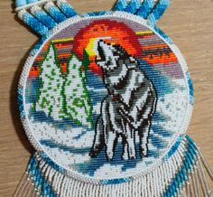 0240 Winter Wolf Medallion Necklace by WoodenIndianCrafts on Etsy, $250.00
