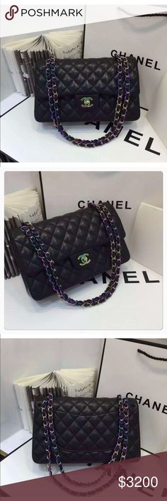 """Chanel Genuine Lambskin Medium Double Flap Bag Brand New!   Chanel Lambskin Medium Double Flap with Rainbow Hardware. Gorgeous!   Comes with -  •Chanel Box - Has Some Wear  •Dust Bag  •Chanel Ribbon  •Authenticity Card  Please see photos with zoom for detail. Measurements:12""""L x 9""""H x 3.5""""W Color: Black with Rainbow Hardware   -If interested Send me Email. Pal only CHANEL Bags Shoulder Bags"""