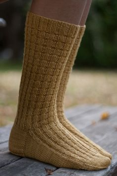 Hand knit socks, yarn Malabrigo Sock, colour Orchre. Koukuttamo
