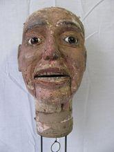 Antique Folk Art Hand Carved Wooden Ventriloquist Dummy Head