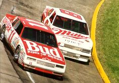 Terry Labonte,' driving Junior Johnson's Budweiser Chevy, battles with Bobby Hillin' handling the Stavola Brothers Miller Buick at Martinsville. Nascar Autos, Nascar Race Cars, Old Race Cars, Terry Labonte, Drag Racing, Auto Racing, Classic Race Cars, Chevrolet Monte Carlo, Vintage Racing