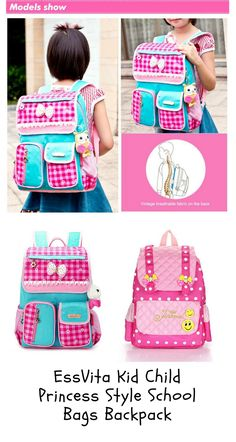 af08b6fb2e EssVita Kid Child Princess Style School Bags Backpack for Primary Girls  Students