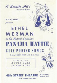 Vintage Theatre Poster - Panama Hattie starring Ethel Merman and music by Cole Porter - 46th Street Theatre, Broadway, New York