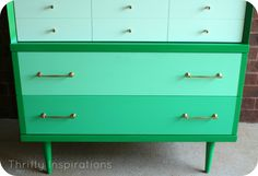 Mid Century Modern Ombre Dresser Chest of Drawers