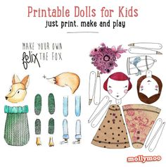 Round up of my current favourite Printables For Kids - paper dolls, animal puppets and a silly ticket!!