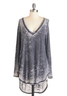 Relaxing Evening Top. A calm night in doesnt mean sacrificing charm for comfort, and thats where this heather-grey top comes in! #grey #modcloth